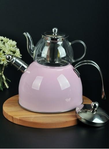 Bayev Düz Renk Düdüklü Cam Çaydanlık-200600 Pudra